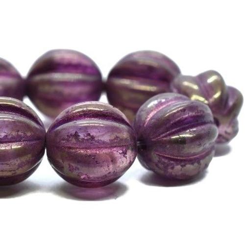 10mm Purple Pansy Melon Beads (15 Beads)