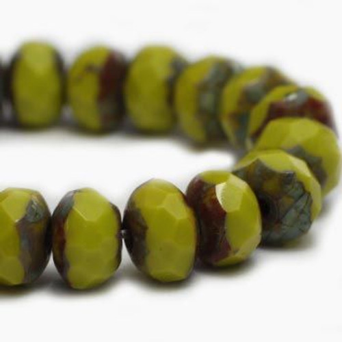 3x5mm Opaque Peridot with Picasso Roundel - 30 Bead Strand