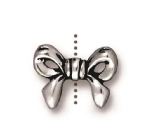 TierraCast Bow Bead (Silver) 2pk