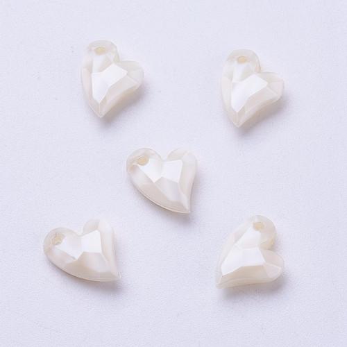 11x9x4mm Floral White Acrylic Heart 6pk