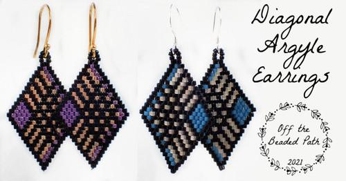 Purple & Gold Diagonal Argyle Earring Kit