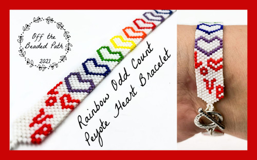 Rainbow Heart Odd Count Bracelet Bead Pack (BEADS & PATTERN ONLY)