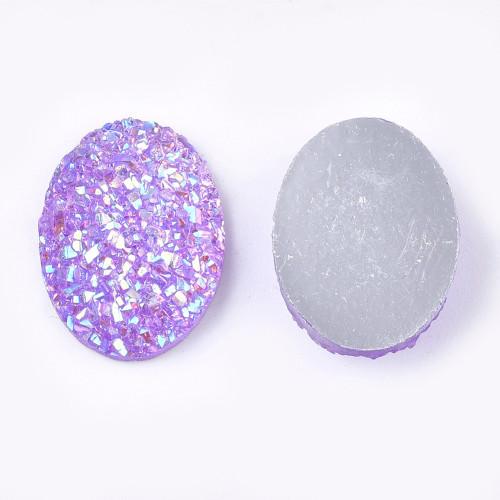 17.5x13x4.5mm Pale Lilac Electroplate Druzy Cabochon (6pk)