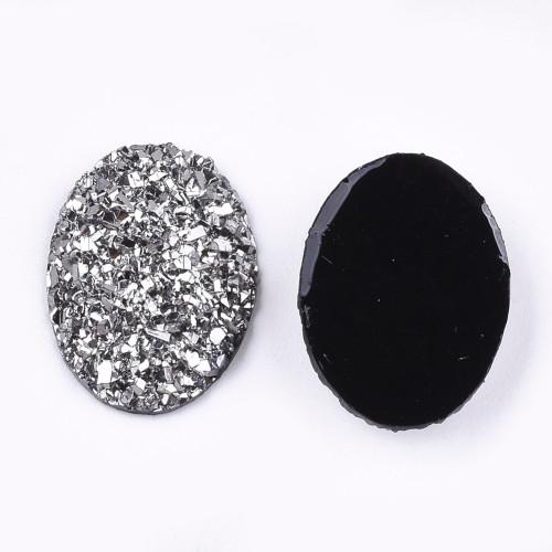 17.5x13x4.5mm Silver Electroplate Druzy Cabochon (6pk)