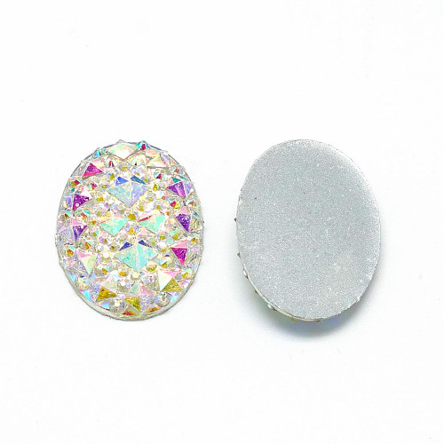 25x18x2.5mm White AB Resin Oval Cabochon (6pk)