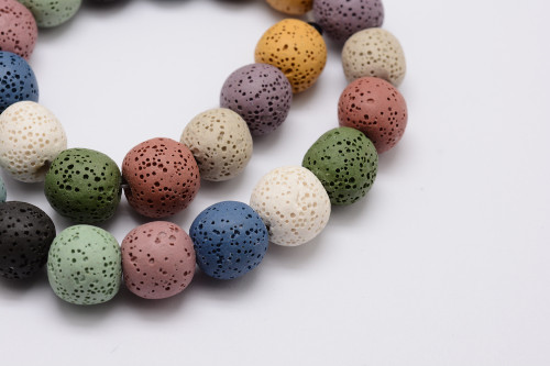 8mm Natural Lava Stone Strand Mix - Approx 54 Beads