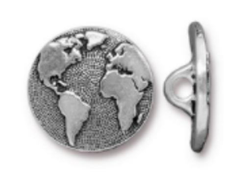 Earth Button Pewter (1 Button)
