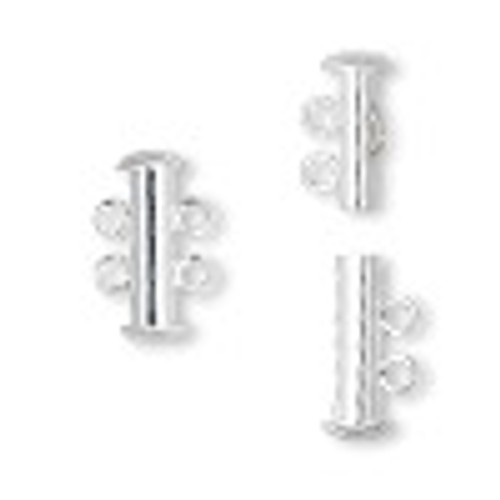 16mm 2 Strand Silver Plated Slide Clasp