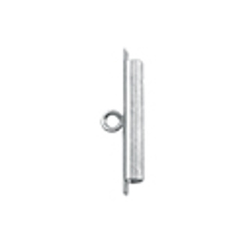 Cord Ends, Tube Slide, 23 mm (0.90 in), I.D. 2.44 mm (.096 in), Slit width .74 mm (.029 in), Silver Plated, 2 pc