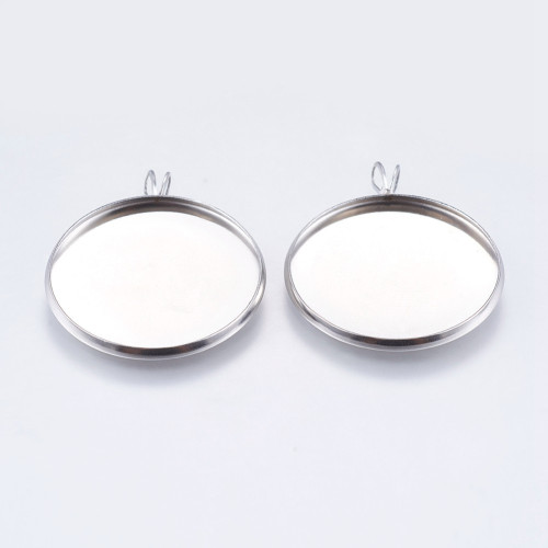 25mm Cabochon Tray Setting 2pk Stainless Steel