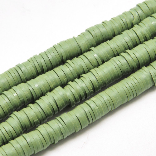 3x1mm Olive Polymer Clay Flat Round Spacer Strand (Approx 380-400 beads)