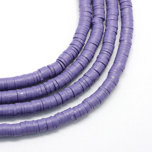 3x1mm Purple Polymer Clay Flat Round Spacer Strand (Approx 380-400 beads)