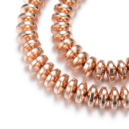 Electroplate Non-magnetic Synthetic Hematite Bead Strands, Rondelle, Light Gold Plated, 4x2mm, Hole: 1mm; about 180pcs/strand, 15.7 inches
