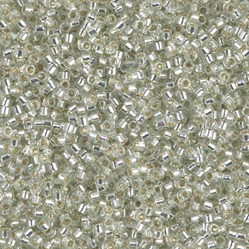 11/0 Silver Lined Pale Moss Green Delica Beads (DB1431) 7.2 Grams
