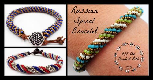 Turquoise & Green Russian Spiral Bracelet Kit