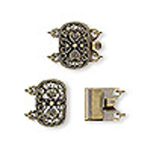 14x9mm Antique Brass Oval Two Strand Clasp (1 Clasp)