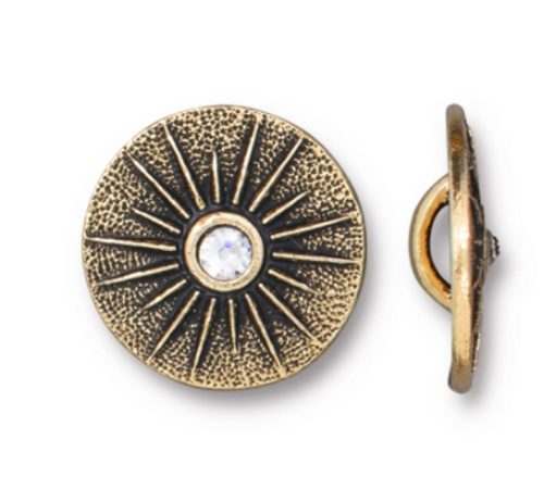 15mm Gold Starburst Button with SS9 Crystal (1 Piece)