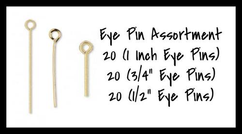 Gold Plated Eye Pin Assortment