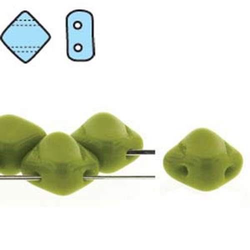 6mm Green Opaque 2-Hole Silky Beads