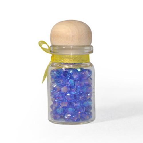 3mm Sapphire AB Thunder Polish Bicone Crystals (144pk) #20AB