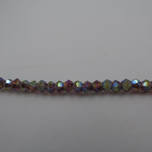 Amethyst AB 3mm Thunder Polish Bicone Crystals