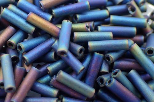 #3 6mm Matte Black AB Miyuki Bugle Beads