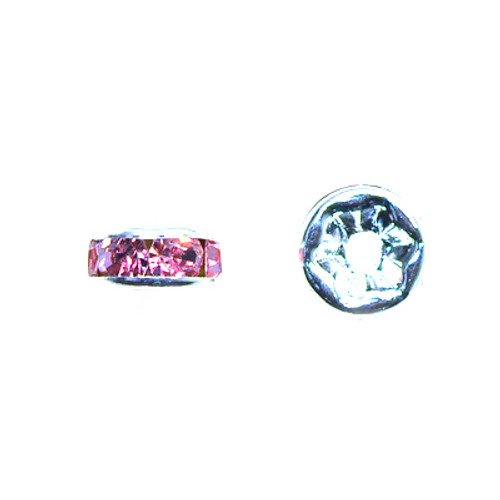 6mm Rose Rhinestone Roundel 10pk