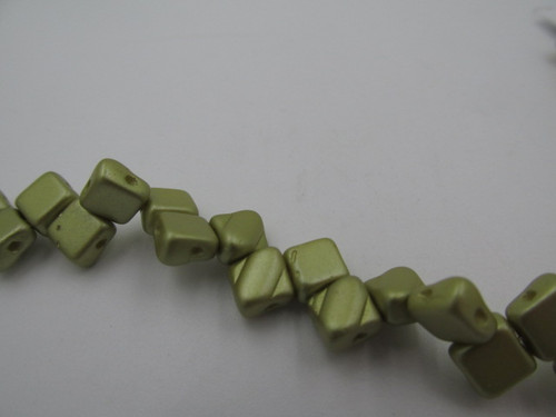 Pastel Lime 2-Hole Silky Beads