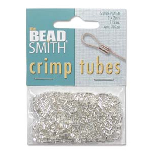 2x2mm Silver Plated Crimp Tubes (400 Ct.) tcb20s-b