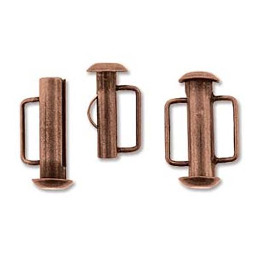 16.5mm Antique Copper Slide Bar Clasp (1 Piece)