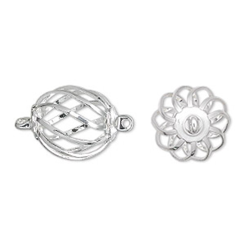 15x12mm Silver Plated Oval Cage (2 Ct.)