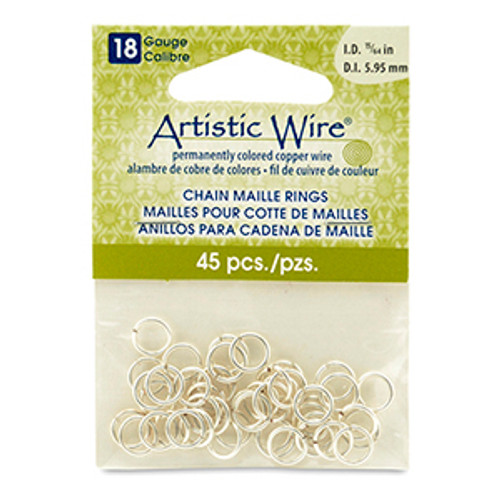 15/64 18ga Artistic Wire Jump Rings 45pk