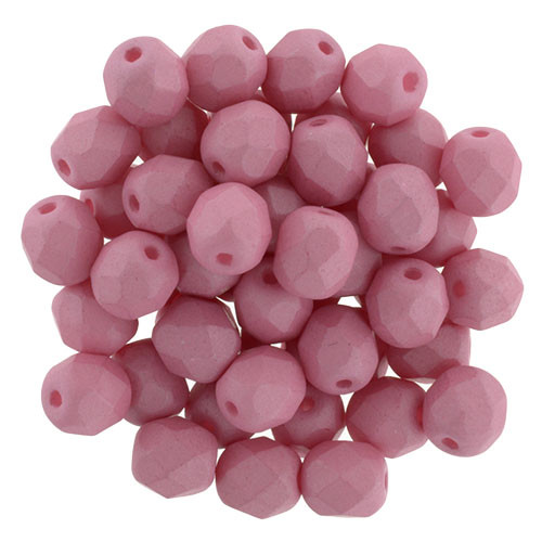 6mm Saturated Pink Fire Polished Rounds (25 Beads)