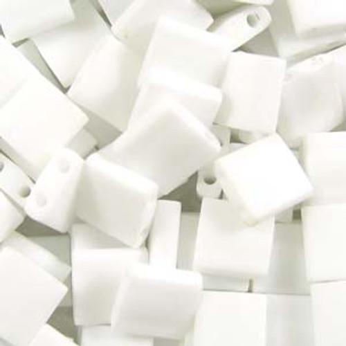 Matte Opaque White 5mm Tila Beads (TL402FR)