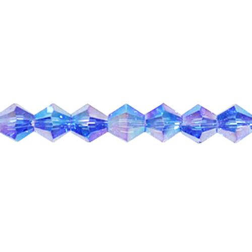4mm Sapphire AB Thunder Polish Crystal Bicones