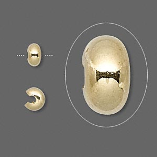 5mm Gold Plated Crimp Covers (12 Pack)