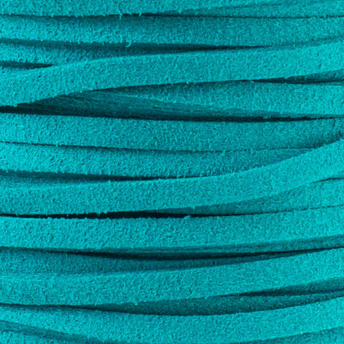1.5 mm thick 2mm wide flat turquoise green Microsuede