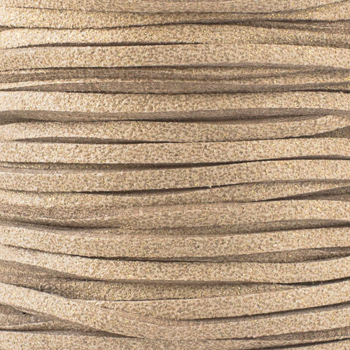 1.5mm thick 2mm wide flat tan glitter Microsuede