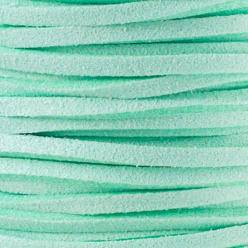 1.5mm thick 2mm wide flat mint green Microsuede cord