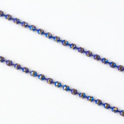 Cobalt Blue & Gold 1.5mm Ball Chain - Per Foot