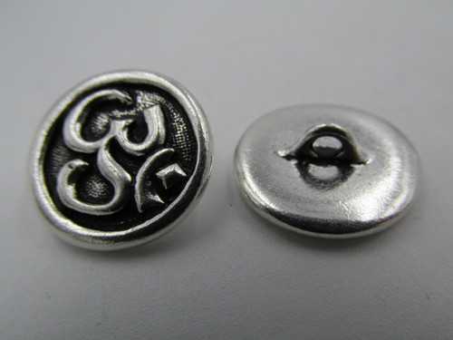 Silver Om Pewter Button