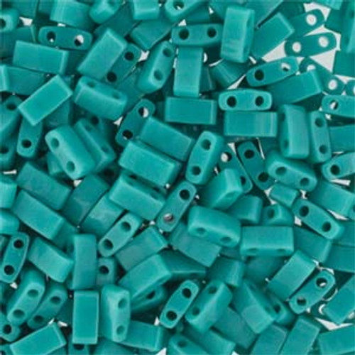 Opaque Turquoise Green Half Tila Beads (2 Hole)