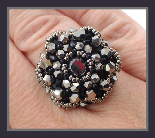Black Bloom Ring-Finished Jewelry