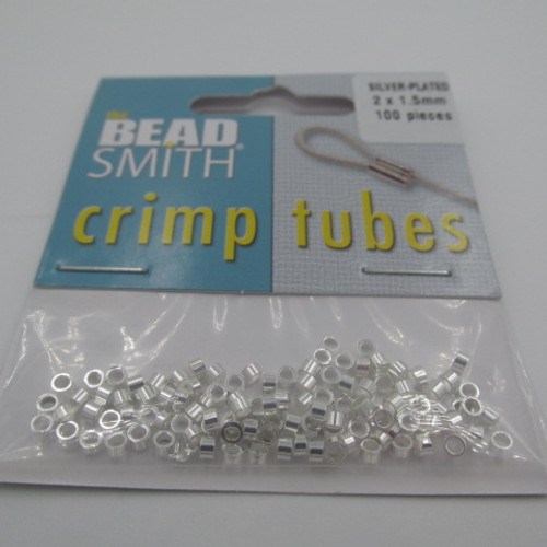 2x1.5mm Silver Plated Crimp Tubes (100 Pack)
