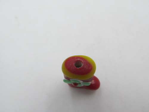 18x13mm Red Glass Stocking w/ Green Flower