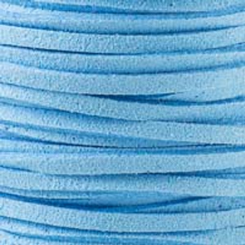 1.5mm thick 2mm wide Carolina Blue Microsuede Cord