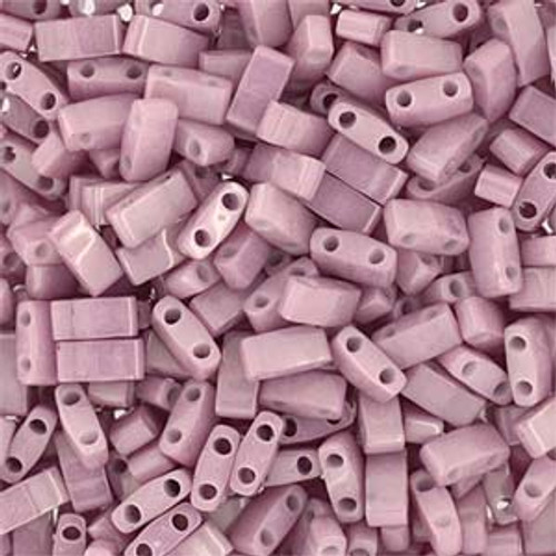 Antique Rose Luster Half Tila Beads (2 Hole)