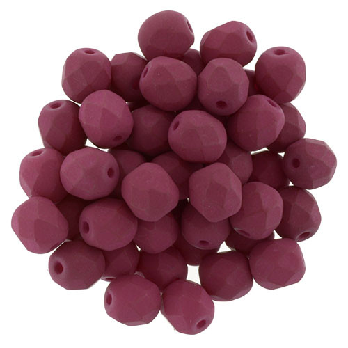 6mm Saturated Fuchsia Fire Polish Beads (25 Beads)
