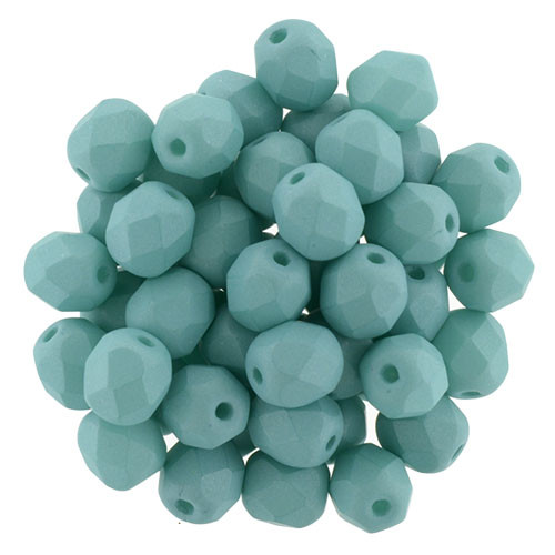 6mm Saturated Teal Fire Polish Beads (25 Beads)