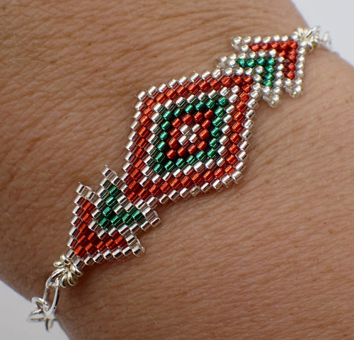 Brick Stitch Diamond Bracelet Kit - Red, Green, & Silver